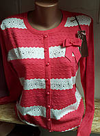 Женская  кофта  разных цветов с бантиком