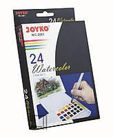 Краски акварельные Joyko набор 24 цвета в кюветах + кисть с резервуаром WC-2001