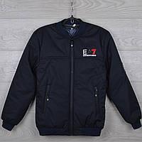 """Куртка подростковая демисезонная """"EA7"""" 10-11-12-13-14 лет (140-164 см). Темно-синяя. Оптом., фото 1"""