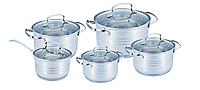Набор кастрюль из нержавеющей стали 10 предметов Benson BN-203 (2,1 л, 2,1 л, 2,9 л, 3,9 л, 6,5 л)   кастрюля