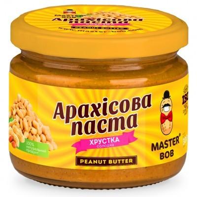 Арахисовая паста Master Bob - Crunchy Peanut Butter сладкая (300 грамм) кранч
