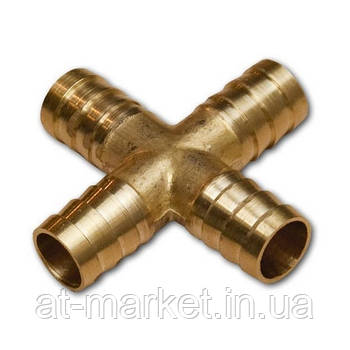Cоединитель на шланг (крестовина, латунь) X-обр. 6*6*6мм AIRKRAFT E102-7-1