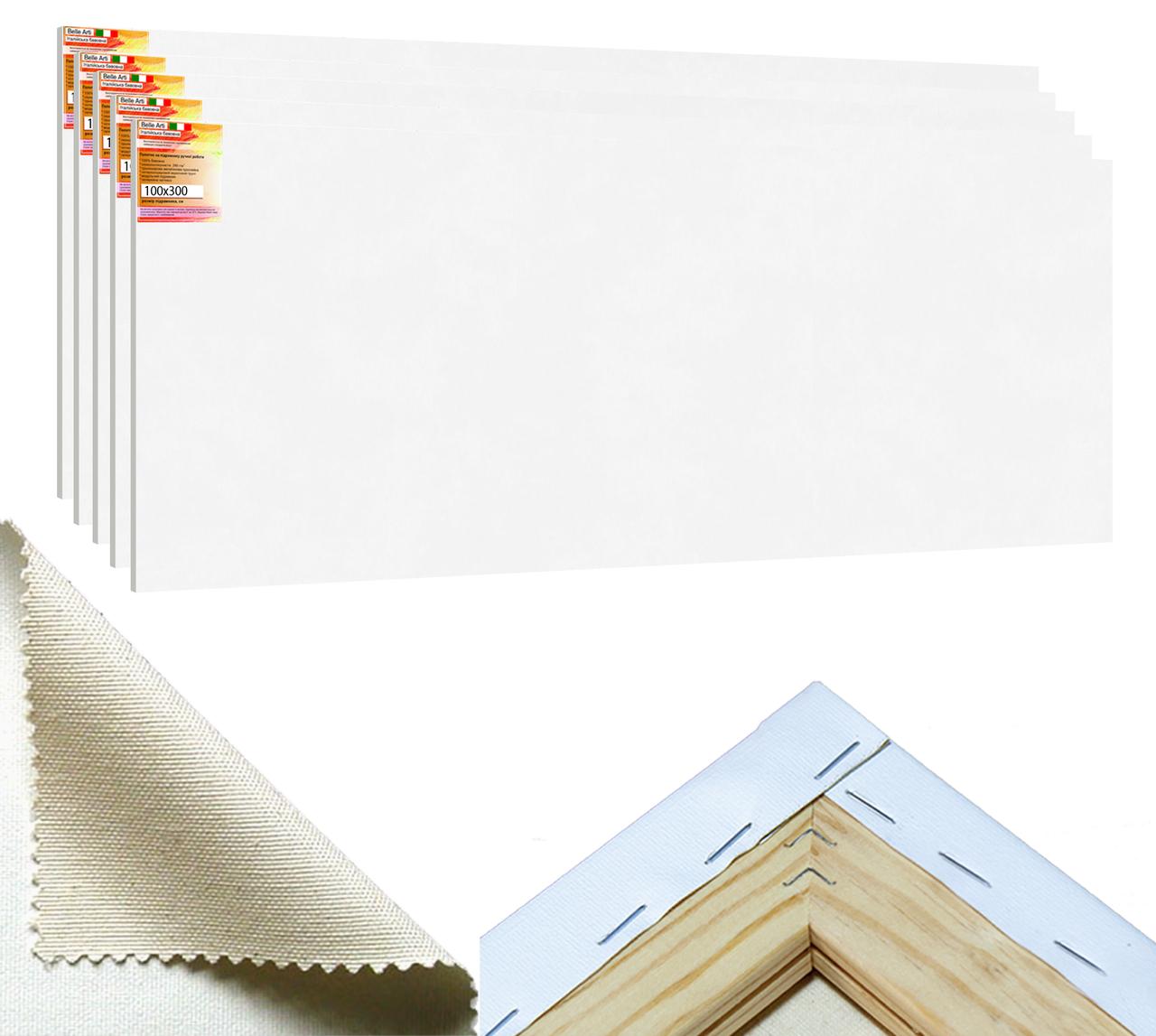 Набор холстов на подрамнике Factura BelleArti 100х300см 5шт. Итальянский хлопок 285 грамм кв.м. белый