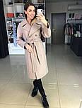 Жіноче демісезонне вовняне двобортне пальто з поясом (в кольорах), фото 4