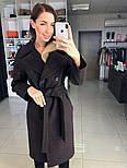 Жіноче демісезонне вовняне двобортне пальто з поясом (в кольорах), фото 5