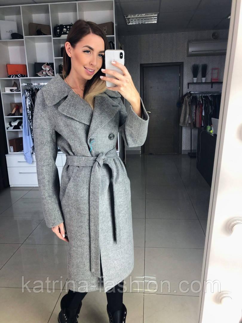 Жіноче демісезонне вовняне двобортне пальто з поясом (в кольорах)