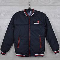 """Куртка подростковая демисезонная """"EA7"""" 10-11-12-13-14 лет (140-164 см). Темно-синяя с красной строчкой. Оптом., фото 1"""