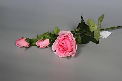 Искусственная роза-ветка, ткань,пластик, 73 см, розовый (630010)