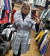 Пальто женское с мехом песца ПТ-20