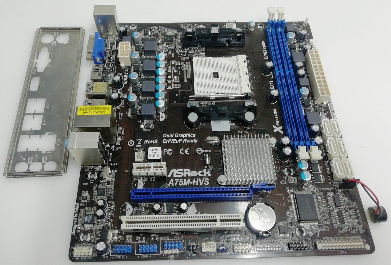 Материнская плата ASRock A75M-HVS (sFM1, AMD A75, PCI-Ex16)