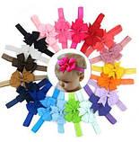 Детская бордовая повязка с бантиком - на резинке, окружность от 30см до 48см, бант 9см, фото 2