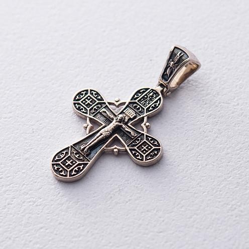 """Дитячий золотий православний хрест """"Розп'яття. Спаси і збережи"""" гп03213"""