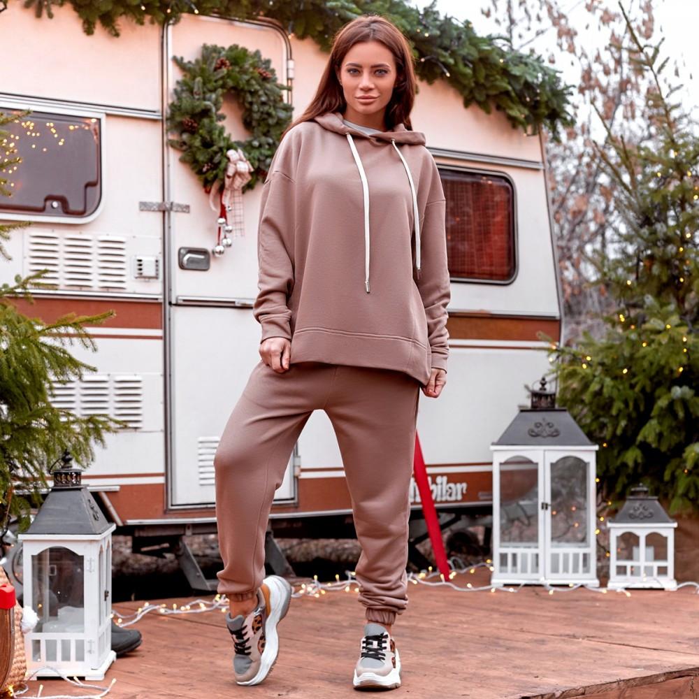 Женский спортивный костюм с бомбером бежевый