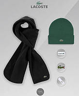 Шапка зеленая и шарф черный флисовый комплект мужской зимний теплый  Lacost, фото 1