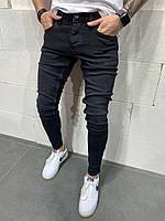 Мужские зауженные джинсы. Цвет черный. Турецкое качество