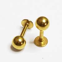 Пирсинг. Для украшения козелка уха микроштанга 1.2х6х4мм. Медицинская сталь, золотое анодирование, фото 1