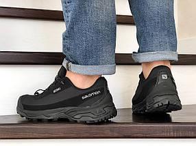 Черные мужские кроссовки с ремешками прессованная кожа 15\8826, фото 3