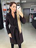 Женское демисезонное шерстяное двубортное пальто с поясом, фото 3