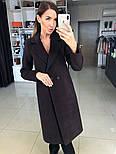 Женское демисезонное шерстяное двубортное пальто с поясом, фото 4