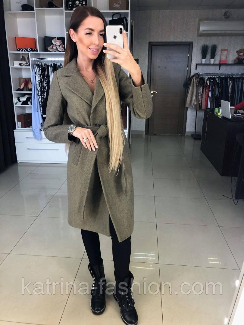 Женское демисезонное шерстяное двубортное пальто с поясом