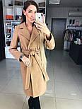 Женское демисезонное шерстяное двубортное пальто с поясом, фото 9