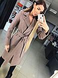 Женское демисезонное шерстяное двубортное пальто с поясом, фото 6