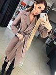 Жіноче демісезонне вовняне двобортне пальто з поясом, фото 7