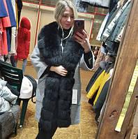 Пальто женское с мехом песца ПТ-21