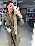 Женское демисезонное шерстяное двубортное пальто с поясом, фото 2