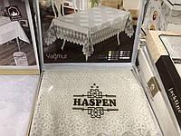 Праздничная скатерть в подарочной коробке , эксклюзив, шикарная бежевая скатерть, Турция