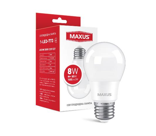 Лампа светодиодная MAXUS 1-LED-773 A55 8W 3000K 220V E27