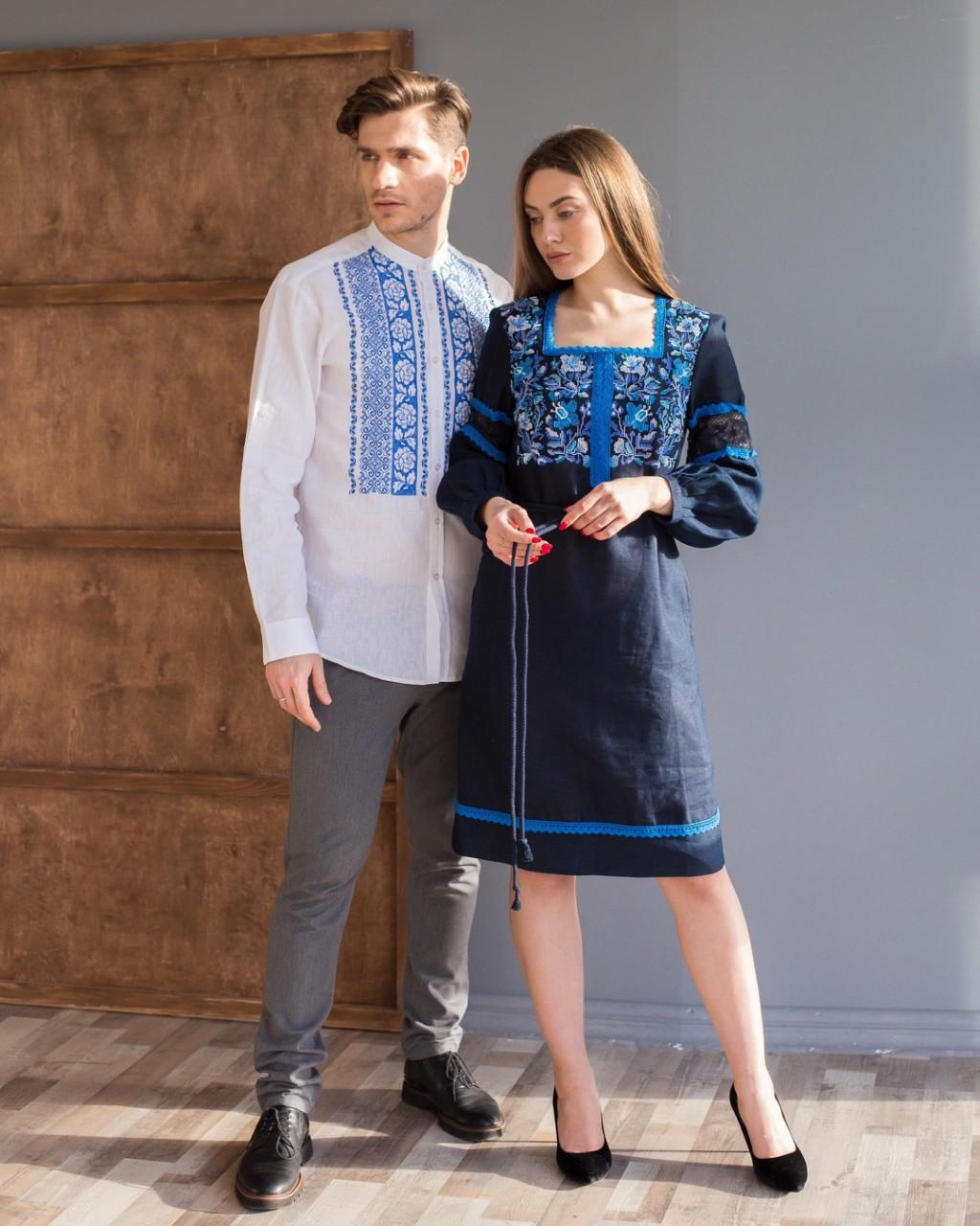 Вышитое платье и рубашка в комплекте
