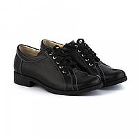 Туфли женские черные из натуральной кожи на маленьком каблучке