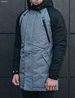 Зимняя парка мужская с капюшоном Staff craft gray and black