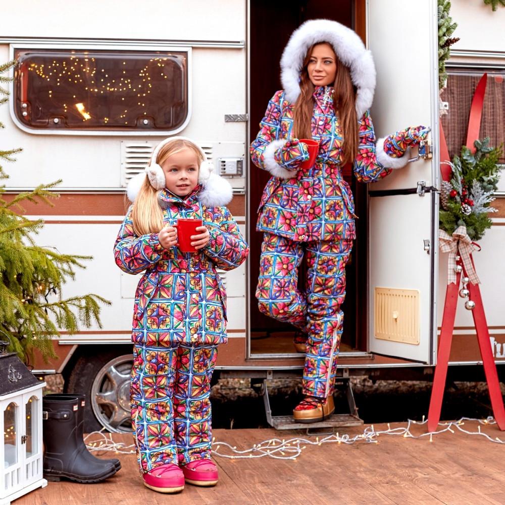 Зимний женский комбинезон с мехом Family Look