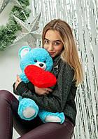 """Мягкая игрушка плюшевый голубой мишка с сердцем """"Фрэнк"""" 65см"""