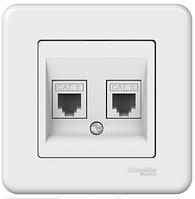 Розетка телефонная на 4 контакта двойная белая Leona Schneider Electric