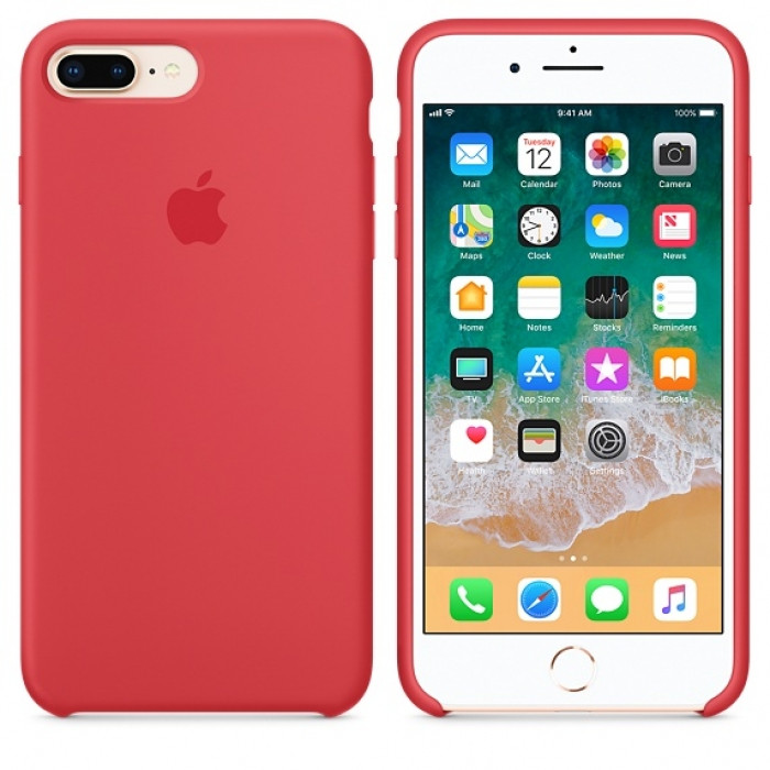 "Apple silicon case iPhone 7 Plus/iPhone 8 Plus "" Red Raspberry """