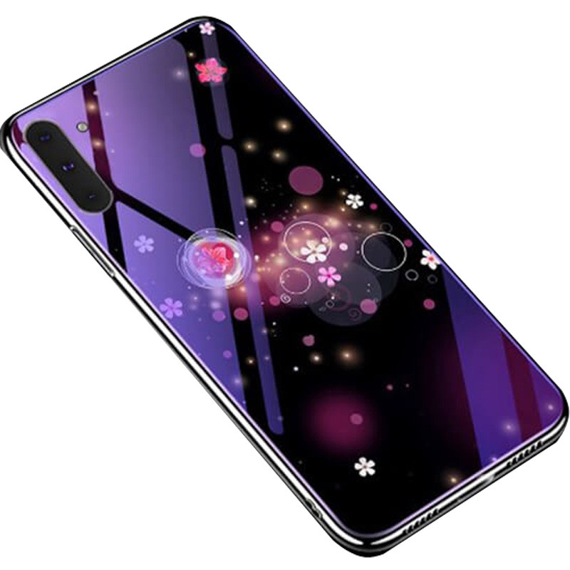 Чехол Samsung стеклянный Fantasy для Samsung Galaxy Note 10 Пузырьки и цветы