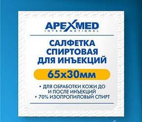 Серветка спиртова 65Х30 мм для обробки шкіри до і після ін'єкцій 200шт уп Apexmed (mpm_00077)