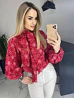 Женская Блуза с бантом принт, фото 1