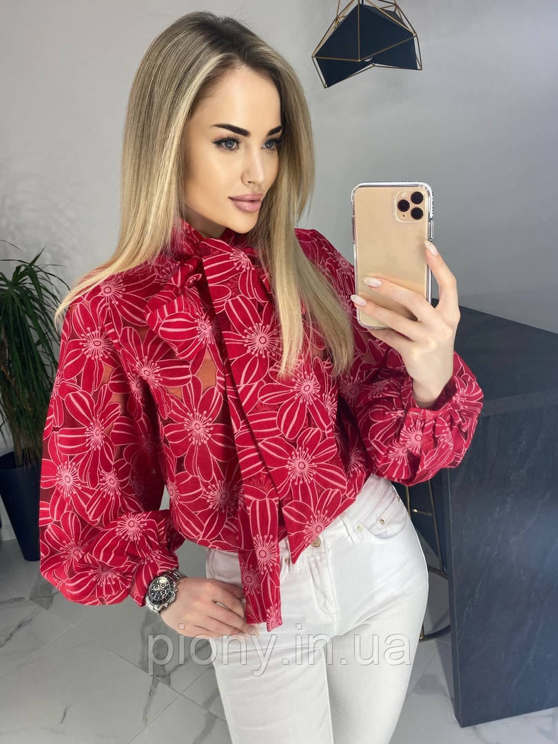 Женская Блуза с бантом принт