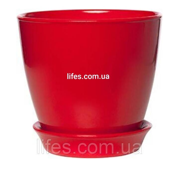 Вазон керамический красный