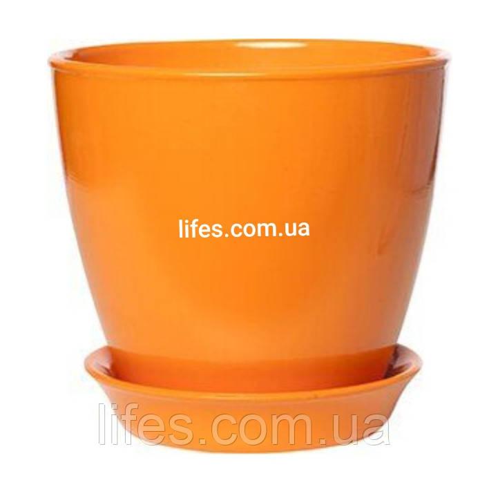 Вазон керамический ВК 13 оранжевый 1.2л