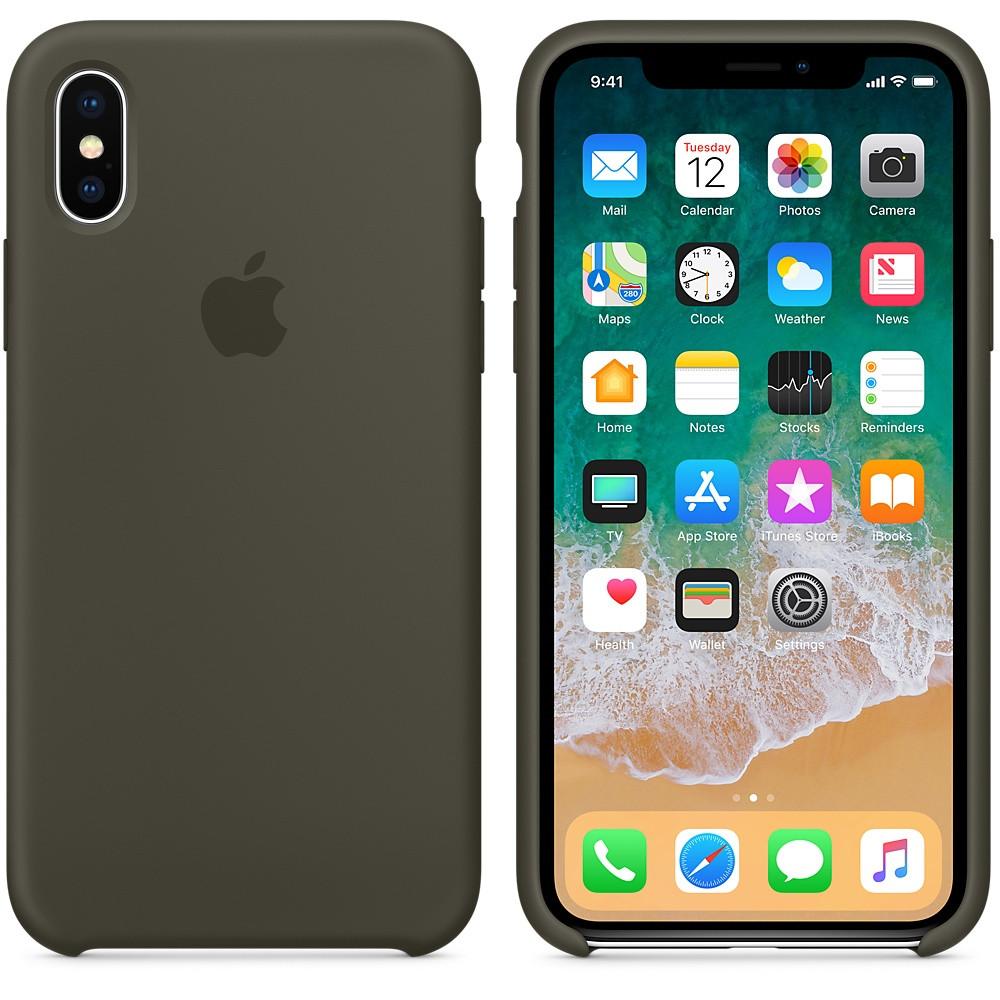 "Apple silicon case iPhone X  ""Olive Dark"""
