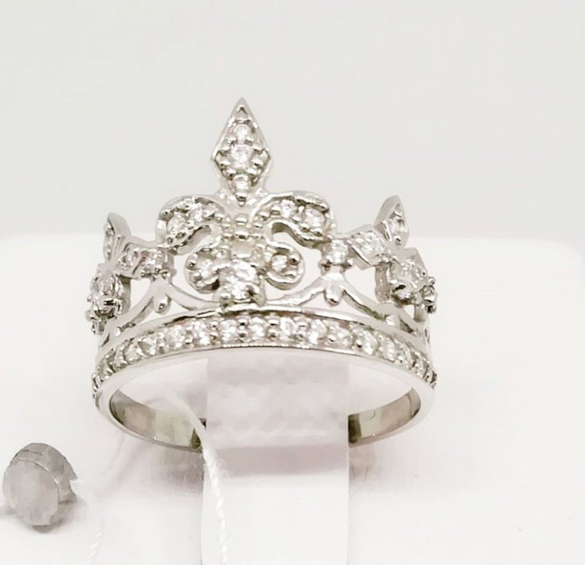 Корона кольцо серебро