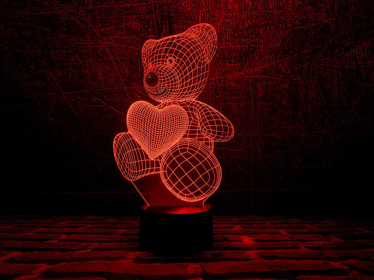 """Сменная пластина для 3D ламп """"Мишка с сердцем"""""""