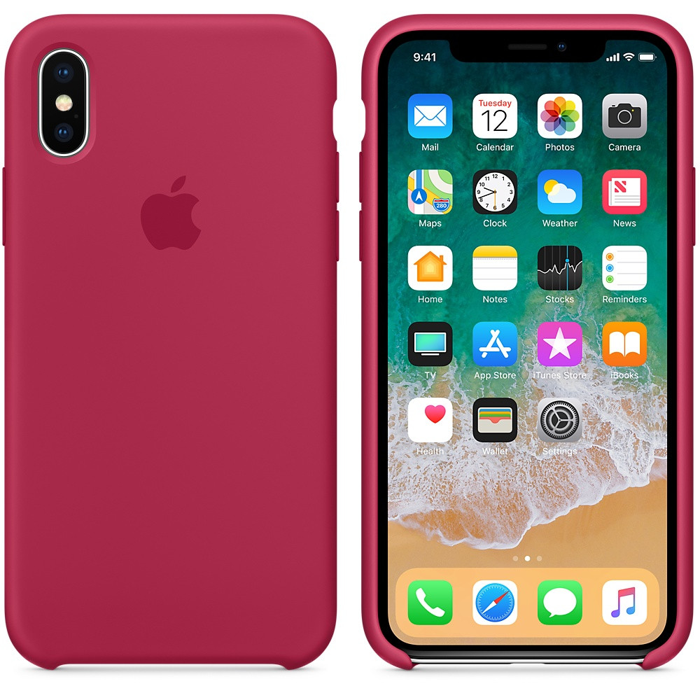 "Apple silicon case iPhone X    ""Rose RED"""