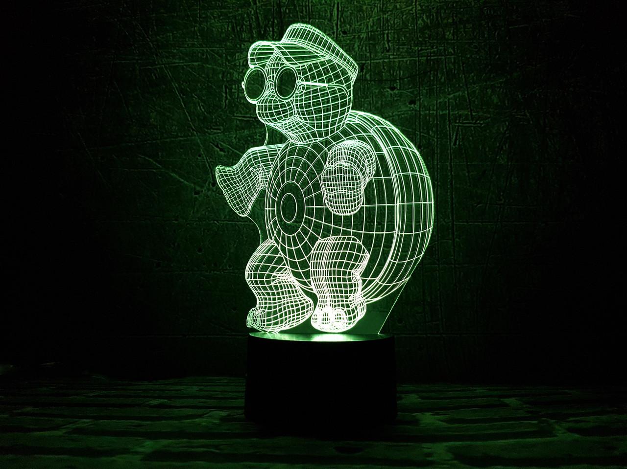 """Сменная пластина для 3D ламп """"Черепашка с очками"""" 3DTOYSLAMP"""
