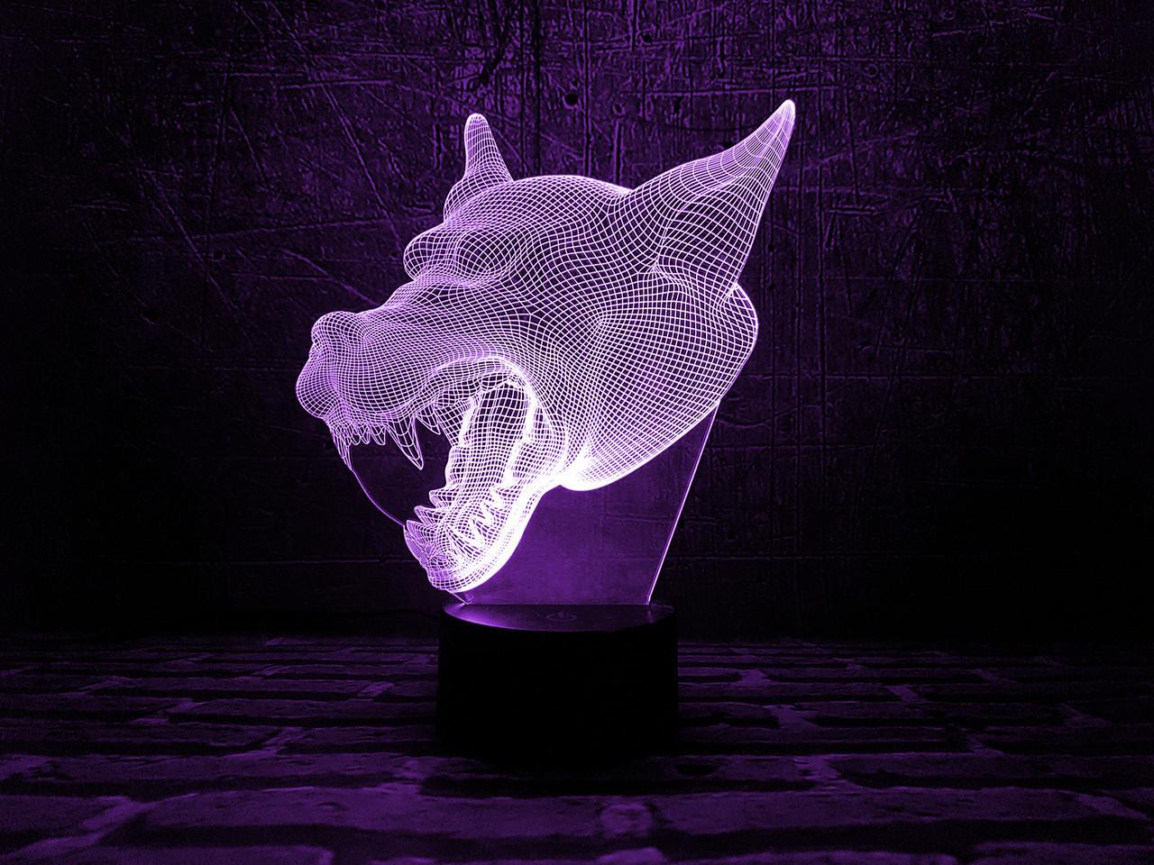 """Сменная пластина для 3D светильников """"Волк 3"""" 3DTOYSLAMP"""